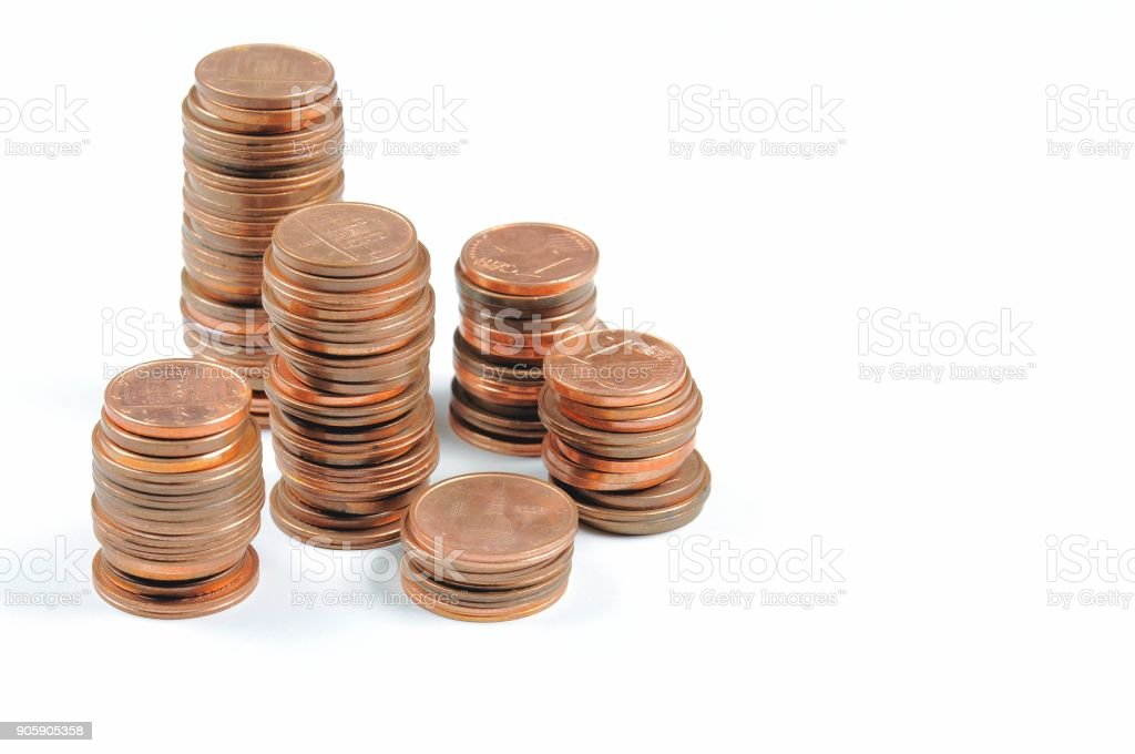 Stack of Eurocent coins on white background. stock photo