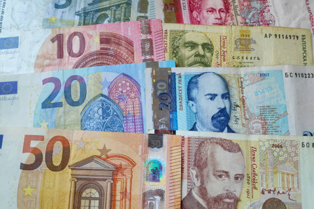 stack of Euros and Bulgarian Levs stock photo