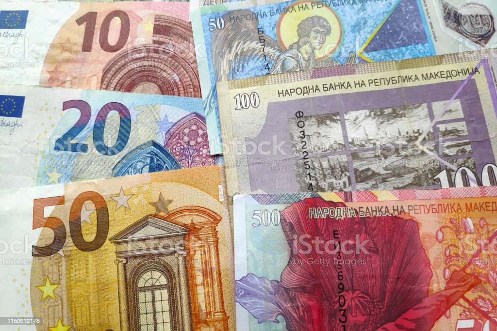 Stack of Euros & Macedonian Denar stock photo