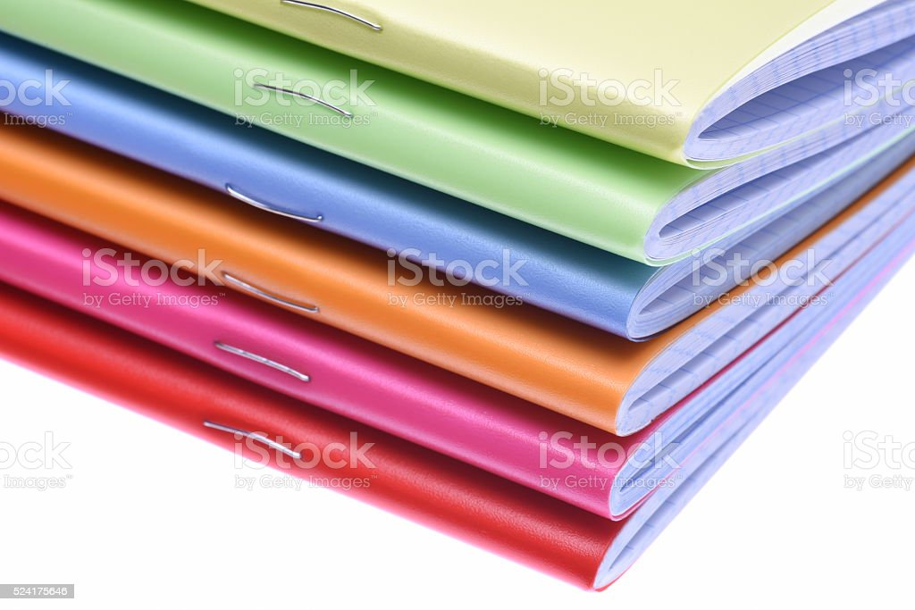 Stack of exercise books stock photo