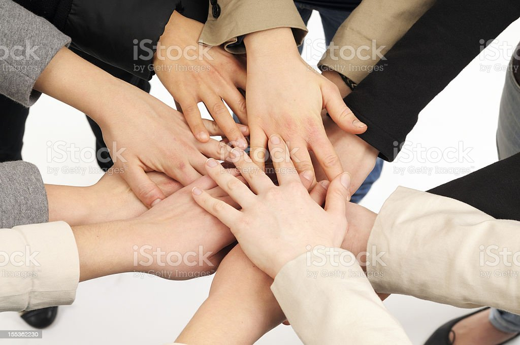 Stack of Female Hands Unity.Isolated. royalty-free stock photo
