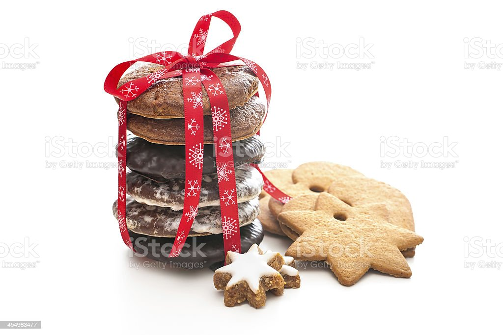 A stack of festive Christmas shortbread cookies stock photo