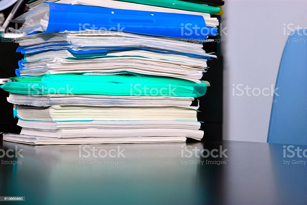 Stack of files on the desk stock photo