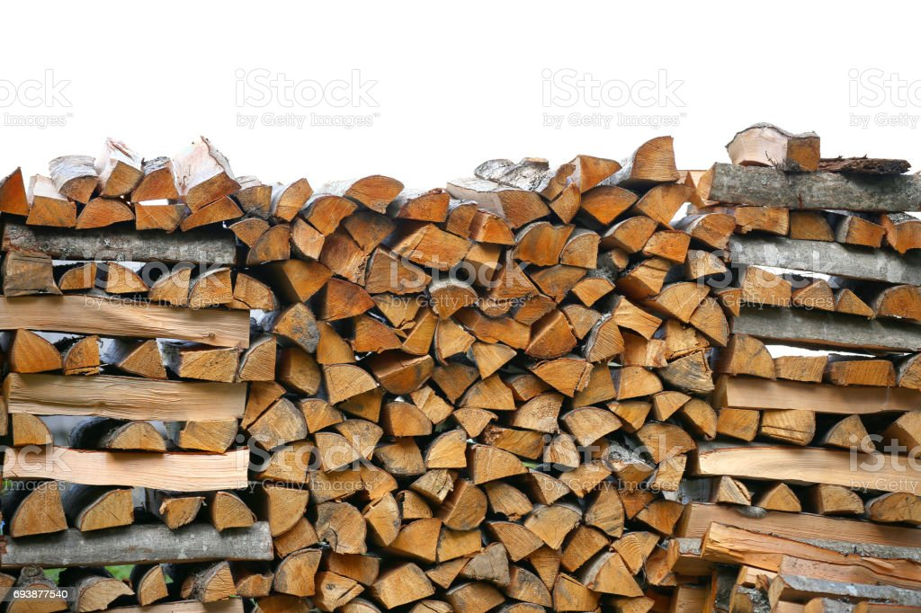 Stack of firewood. big pile of firewood for furnace, background stock photo