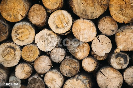 Stack of firewood logs background