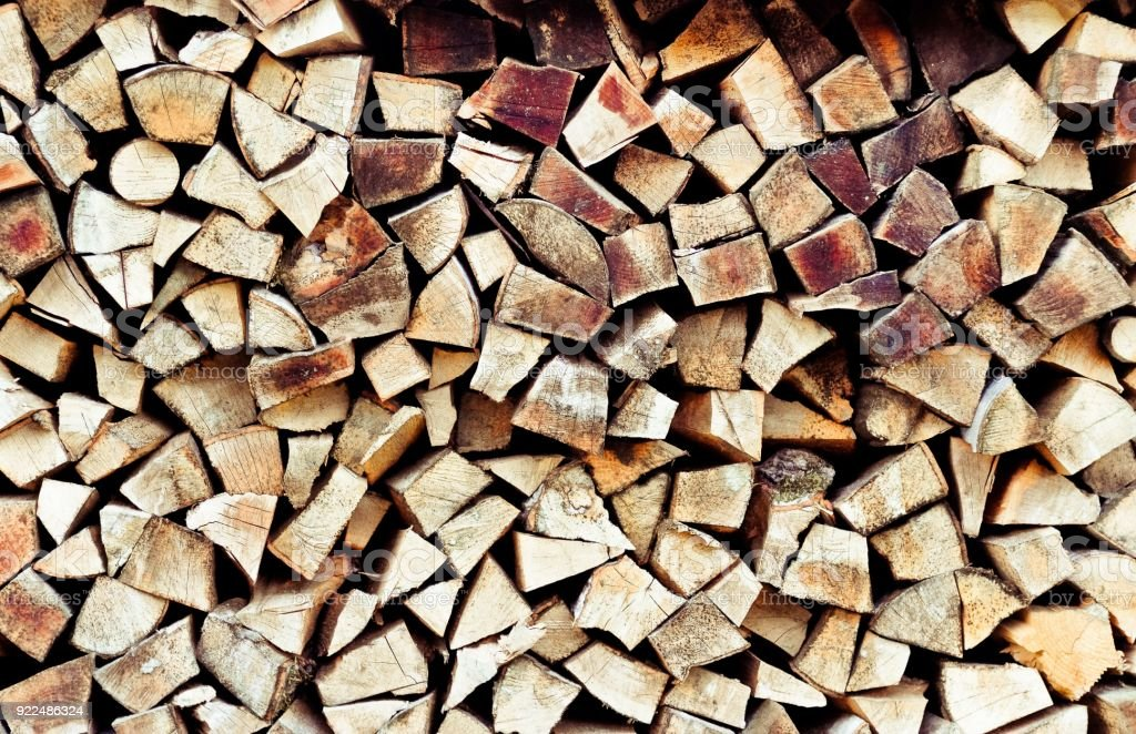 Stack of firewood. Renewable resource of a energy. stock photo