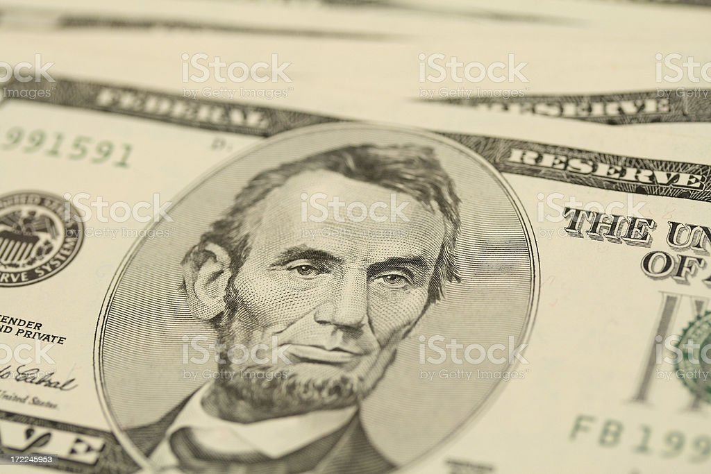 Stack of fivers royalty-free stock photo