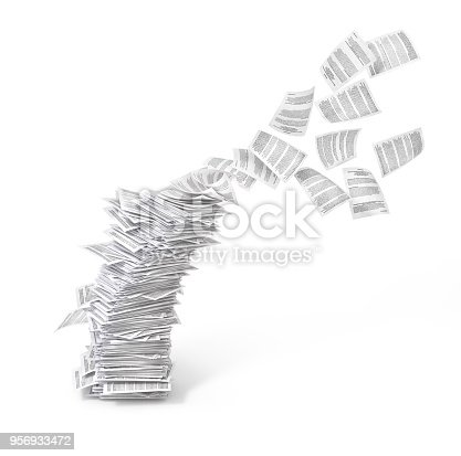 stack of flying leaves isolated on white background.3d illustration