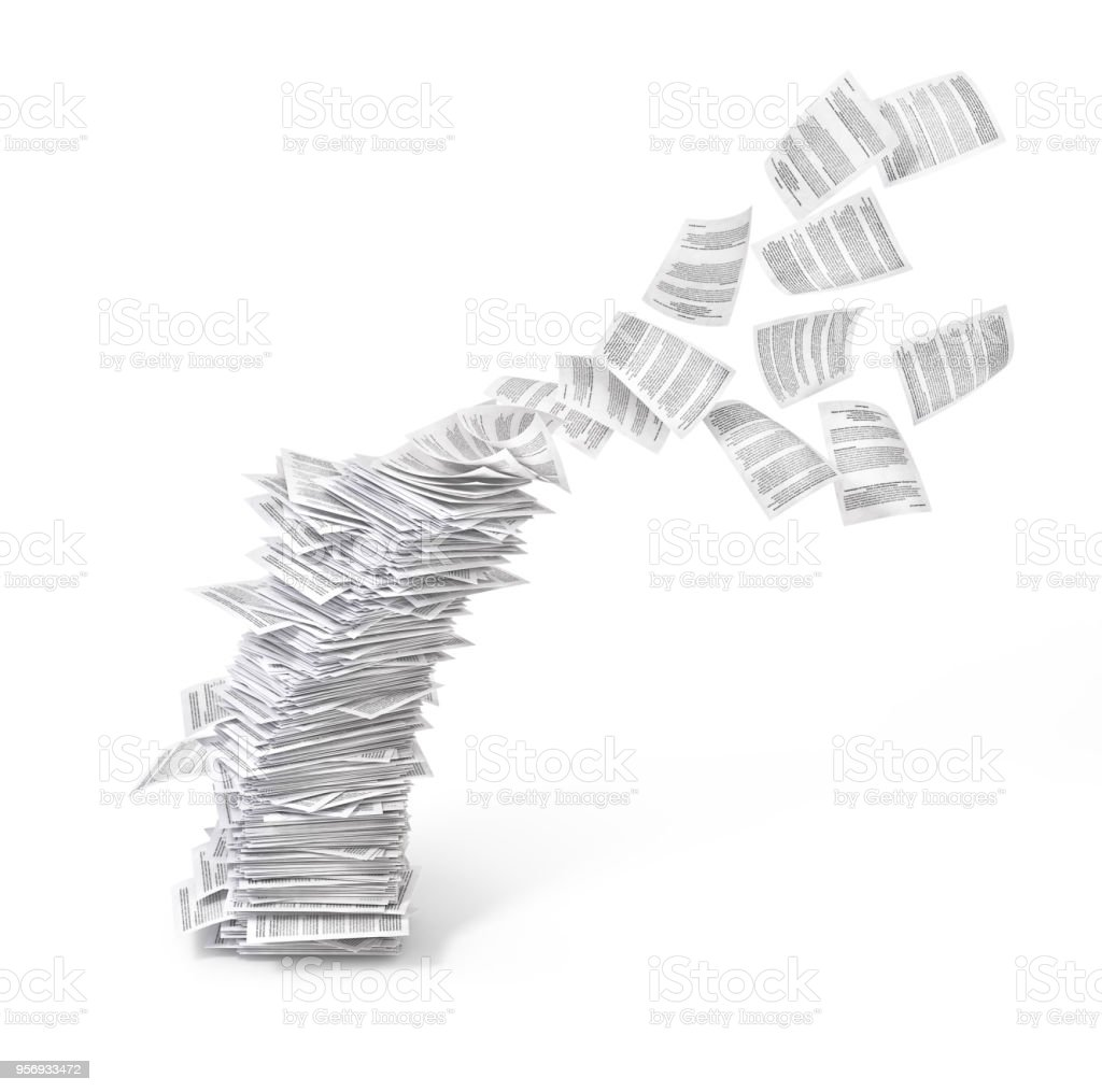 stack of flying leaves isolated on white background.3d illustration stock photo