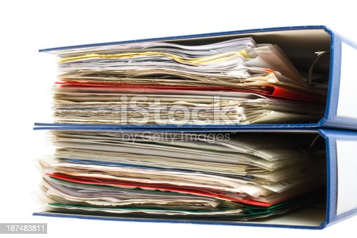 502086873 istock photo Stack of folders. Pile with old documents and bills 187483811
