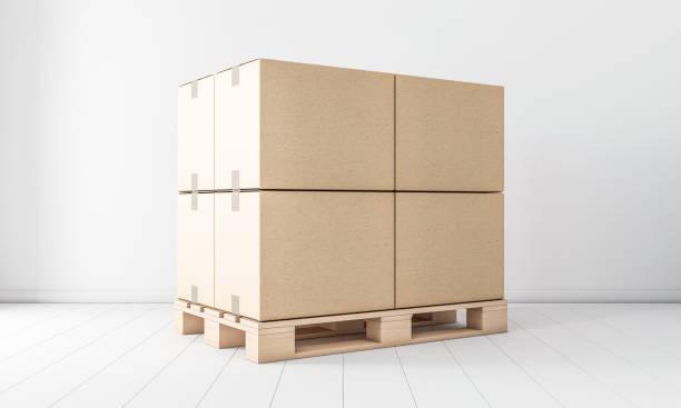 Pile de maquette de boîtes en carton brun quatre sur europalette, en salle blanche - Photo