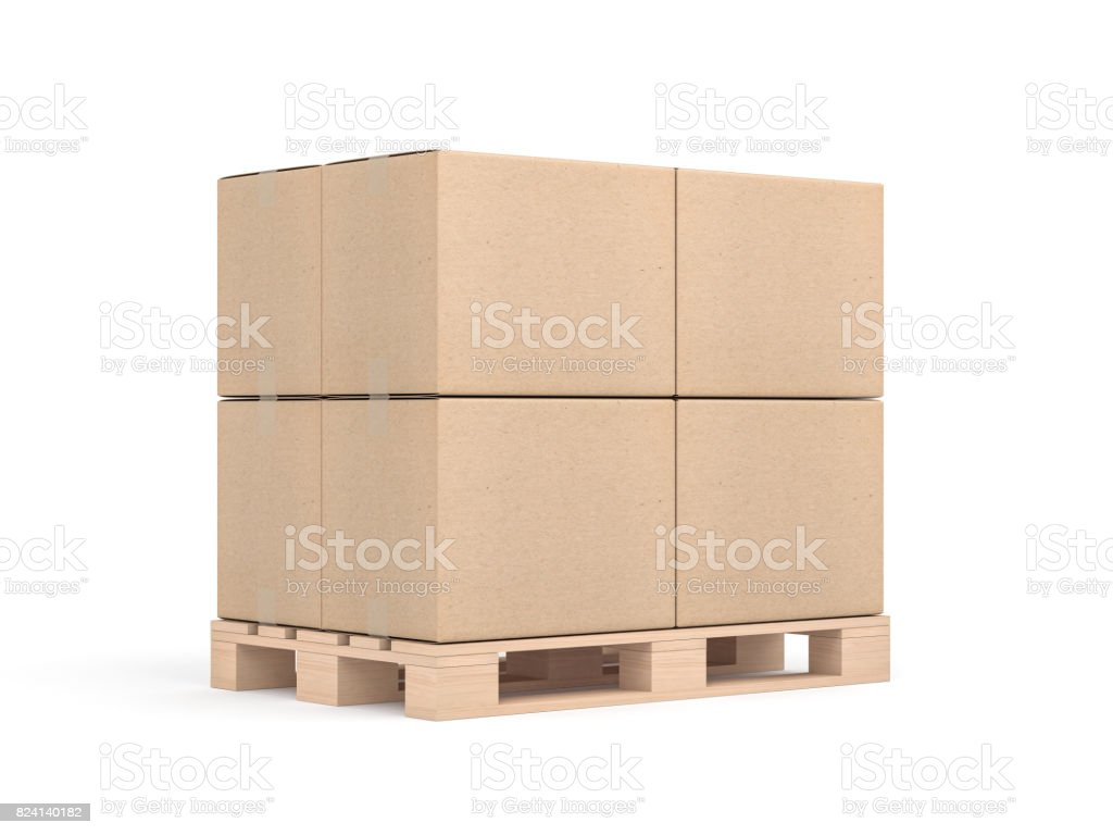 Pile de maquette de quatre cartons sur palette euro en sudio blanc - Photo