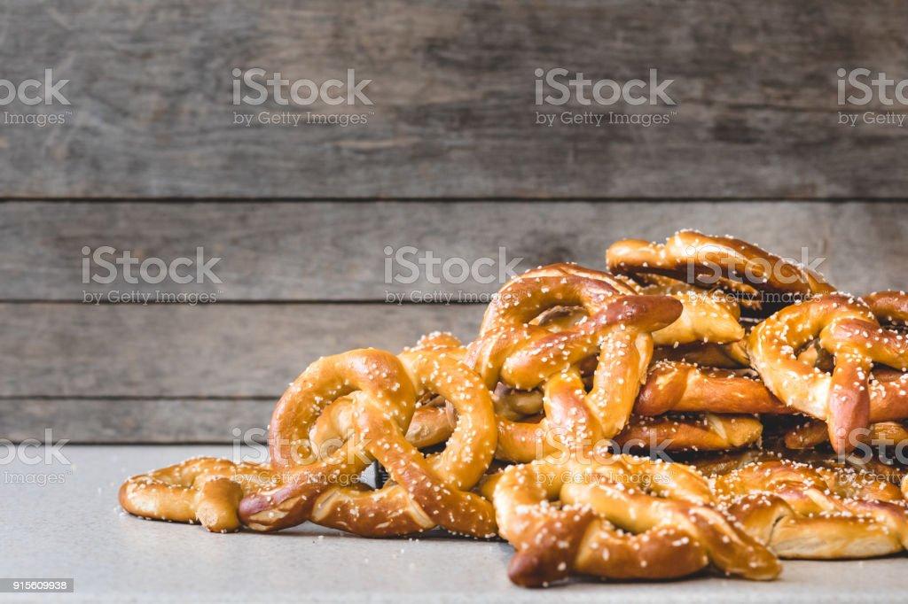 Stack of Fresh Pretzels stock photo