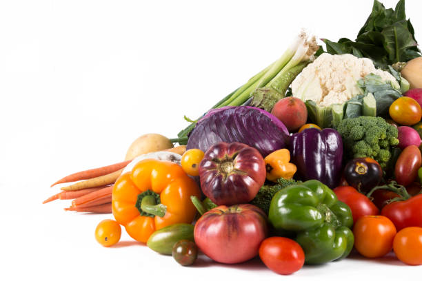 stack of fresh vegetables - vegetable stock pictures, royalty-free photos & images