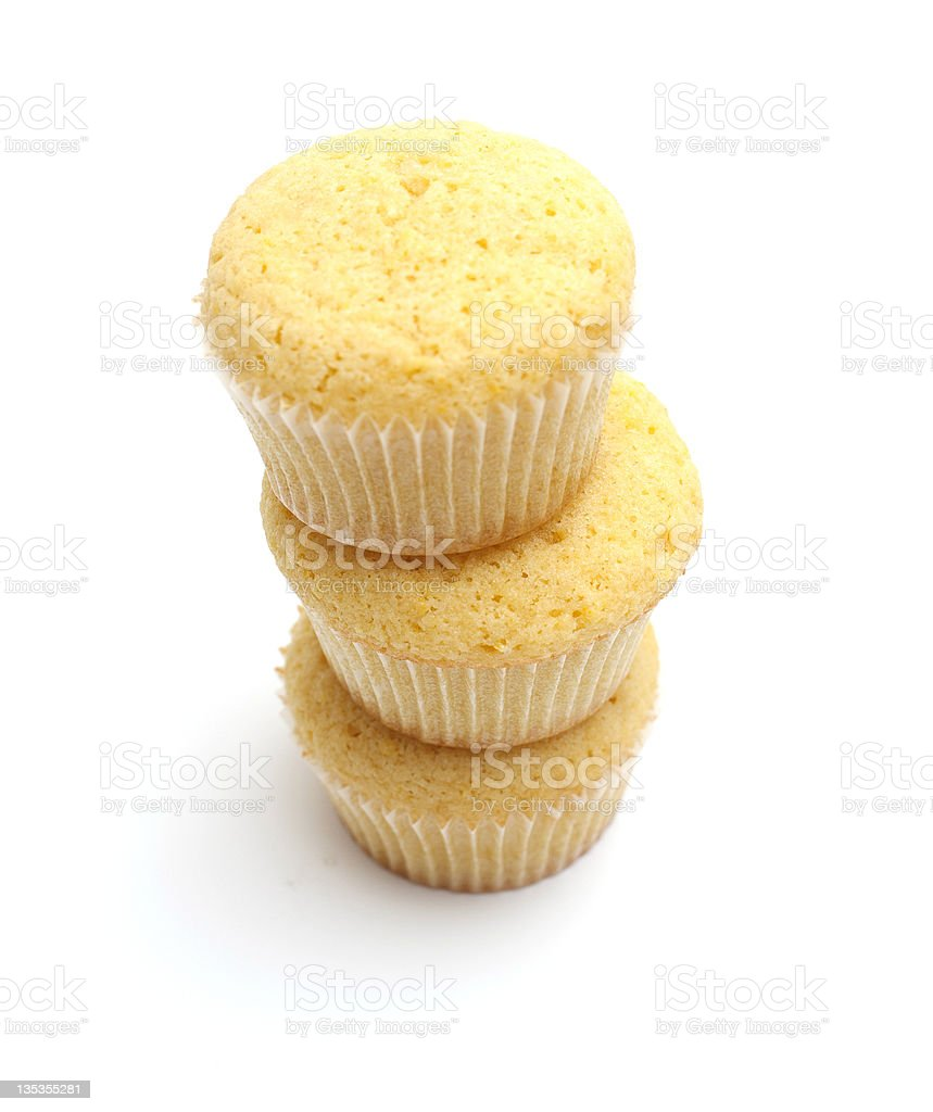 stack of freshly baked lemon cupcakes royalty-free stock photo