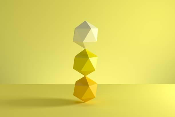 Stapel von GeoSphere in gelben Monoton isoliert auf gelbem Hintergrund. Minimale Konzeptidee. 3D-Rendern. – Foto