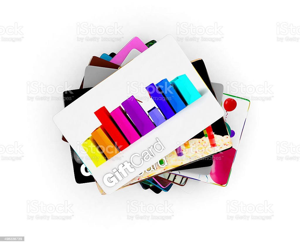 Stack of gift card designs for all people, white background stock photo
