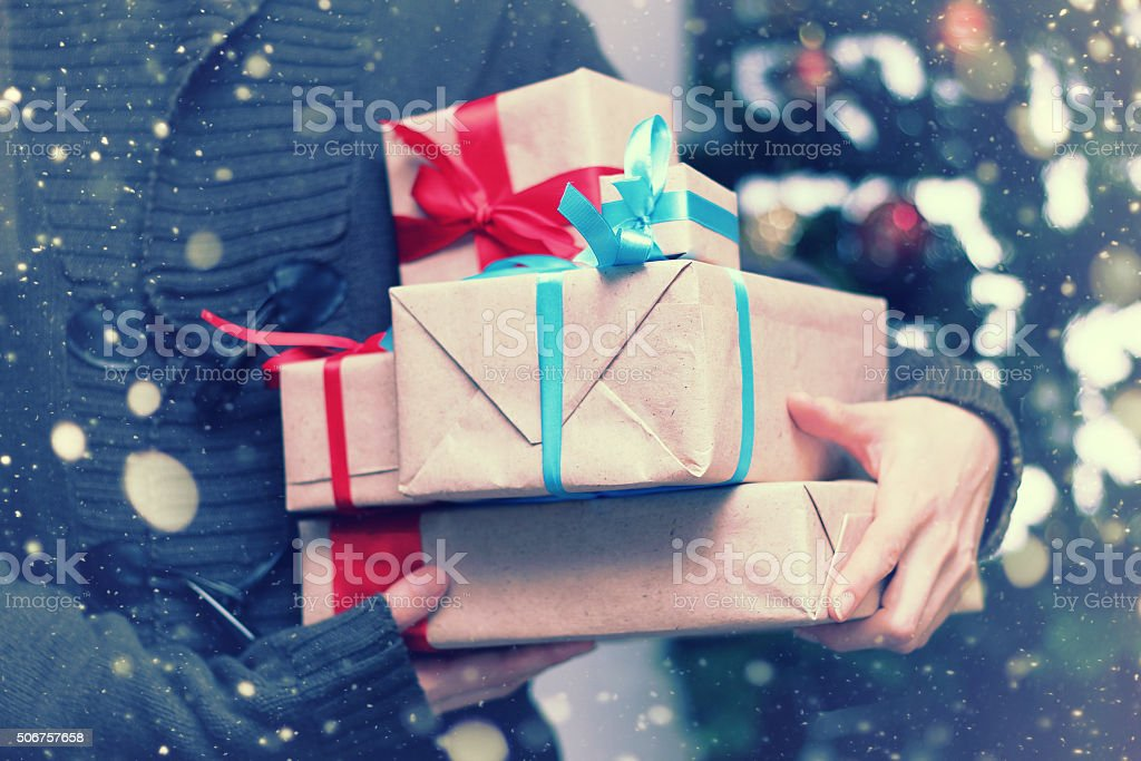 stack of gifts for Christmas holidays stock photo
