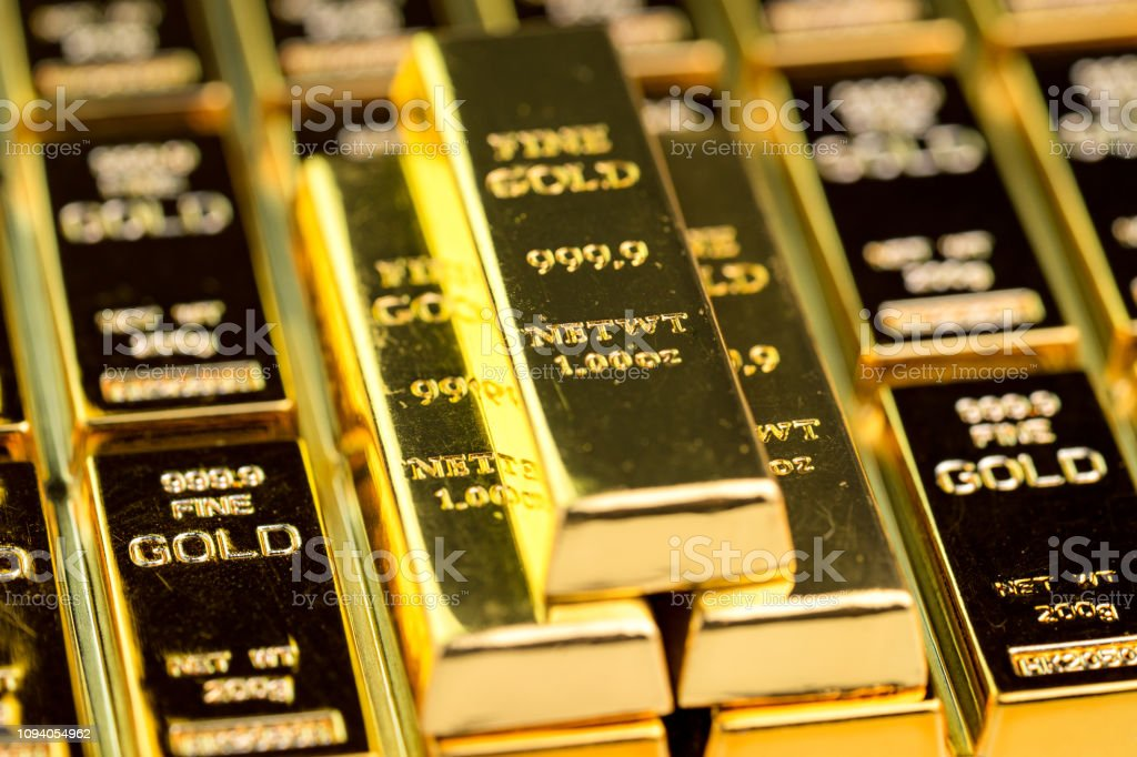 Stack of gold bar bullions ingot, investment asset for crisis safe haven for investment or reserve for country economics stock photo