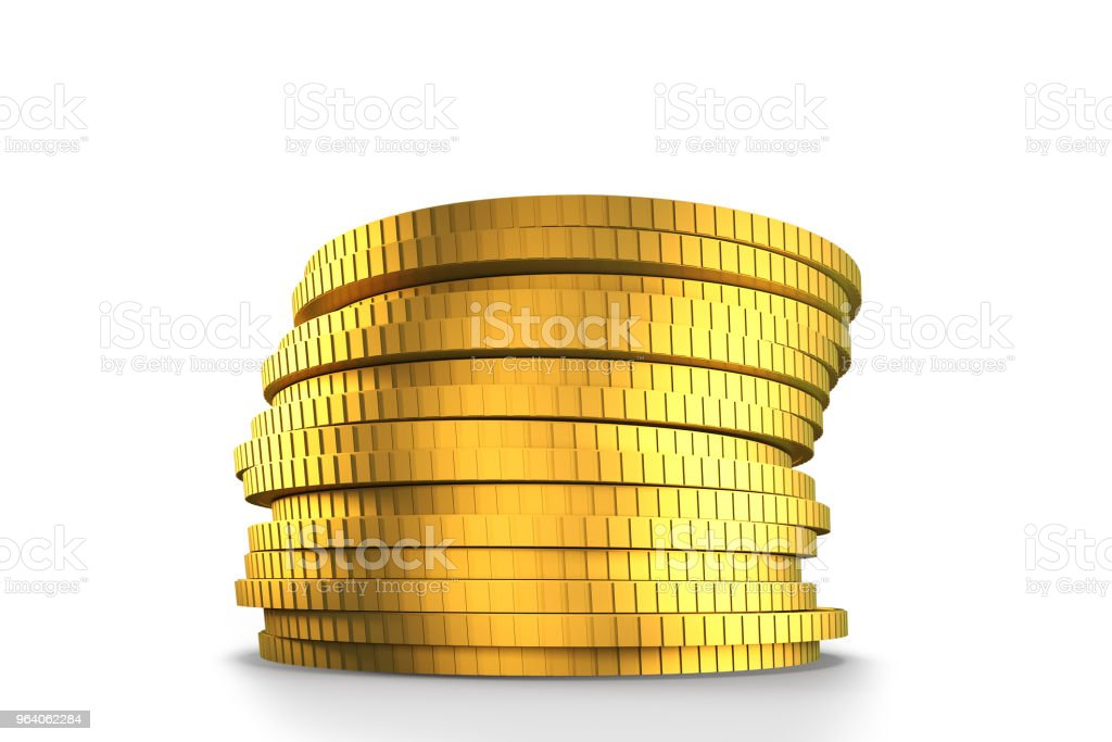 Stack of golden coins, 3D illustration - Royalty-free Banking Stock Photo
