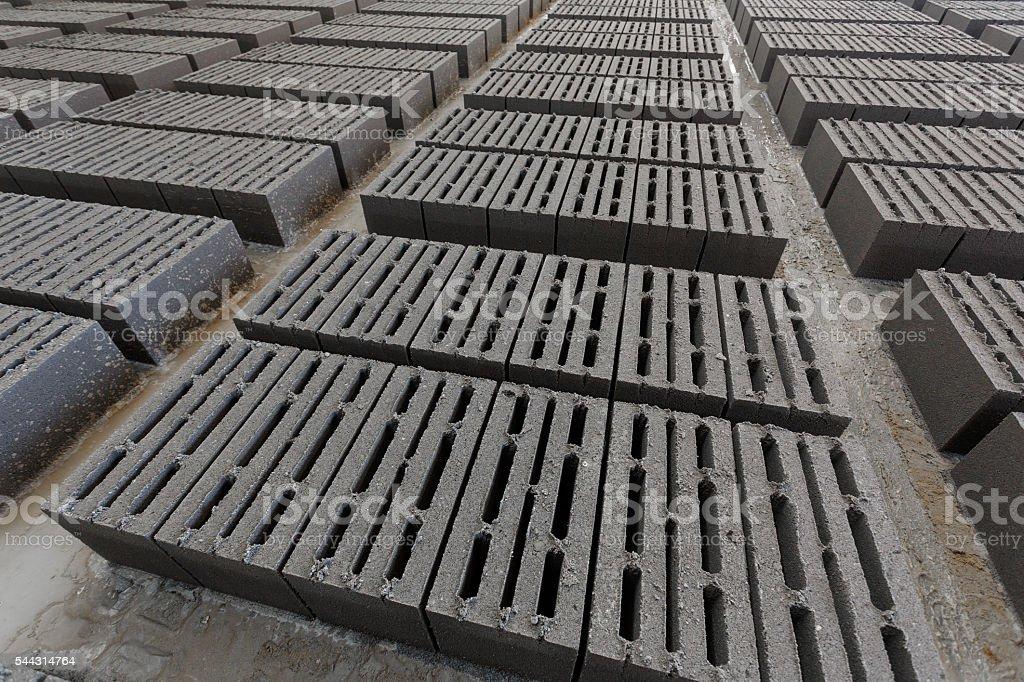 Stack of gray bricks stock photo