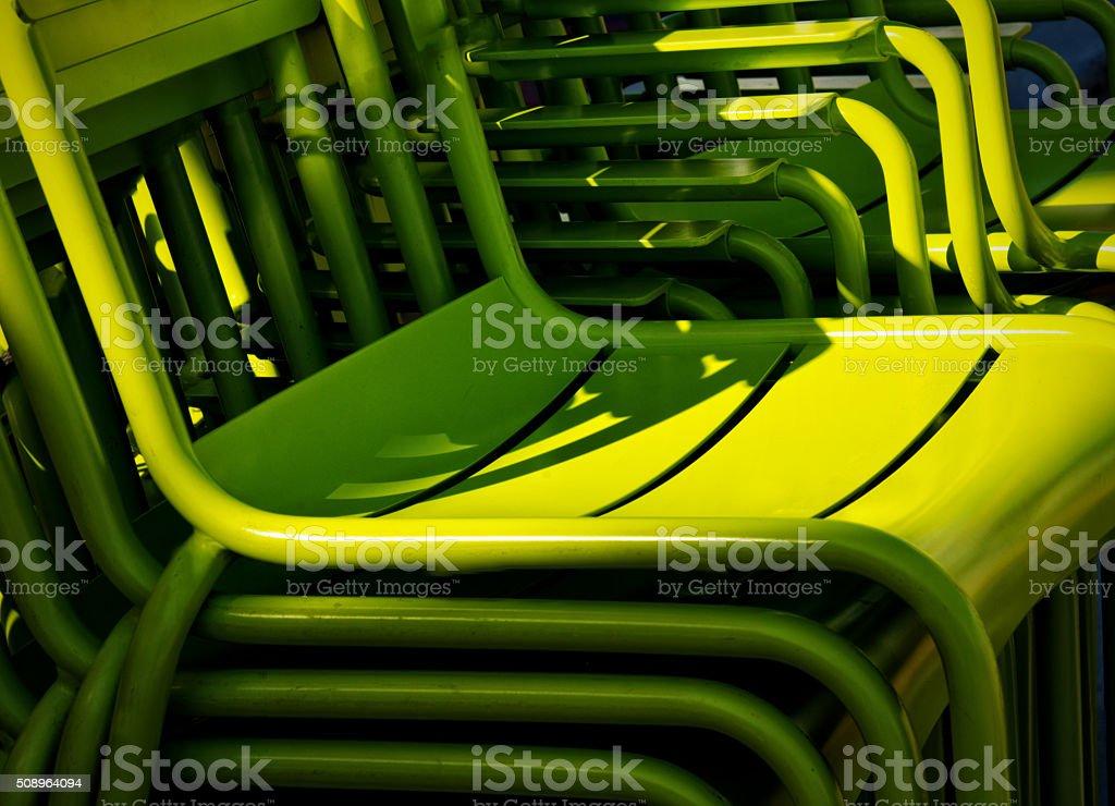 Stack of Green Chairs Statium, Auditorium Seating stock photo