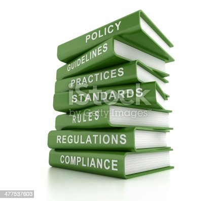 istock Stack of green compliance and rules books 477537603