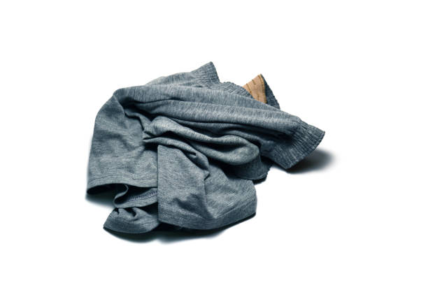 stack of grey cotton boxer panty on white background isolated stock photo