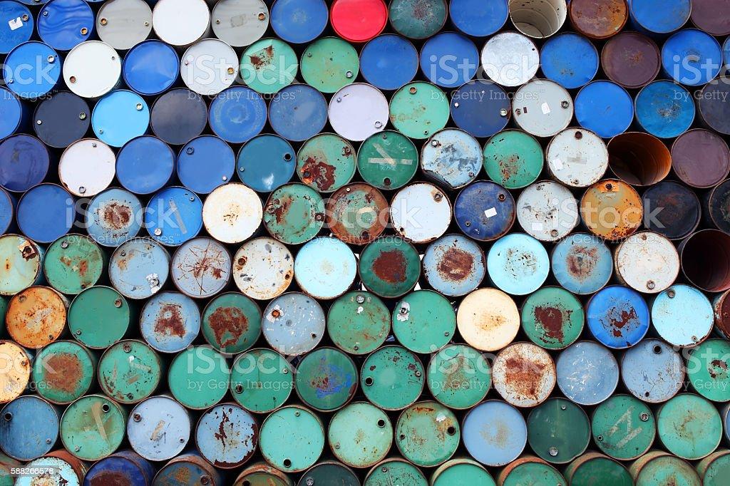 stack of grunge barrel tank stock photo
