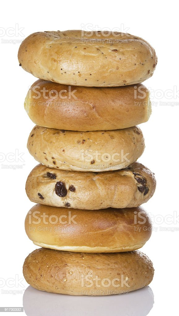 Stack Of Half Dozen Freshly Baked Bagels stock photo