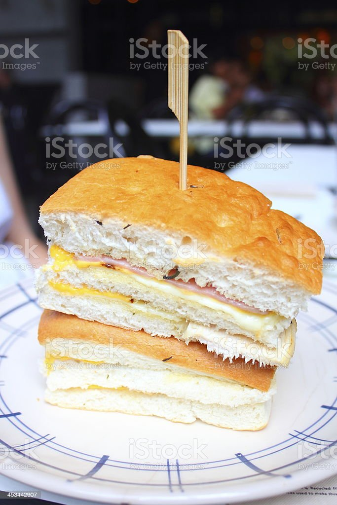 Stack of ham cheese sandwich stock photo