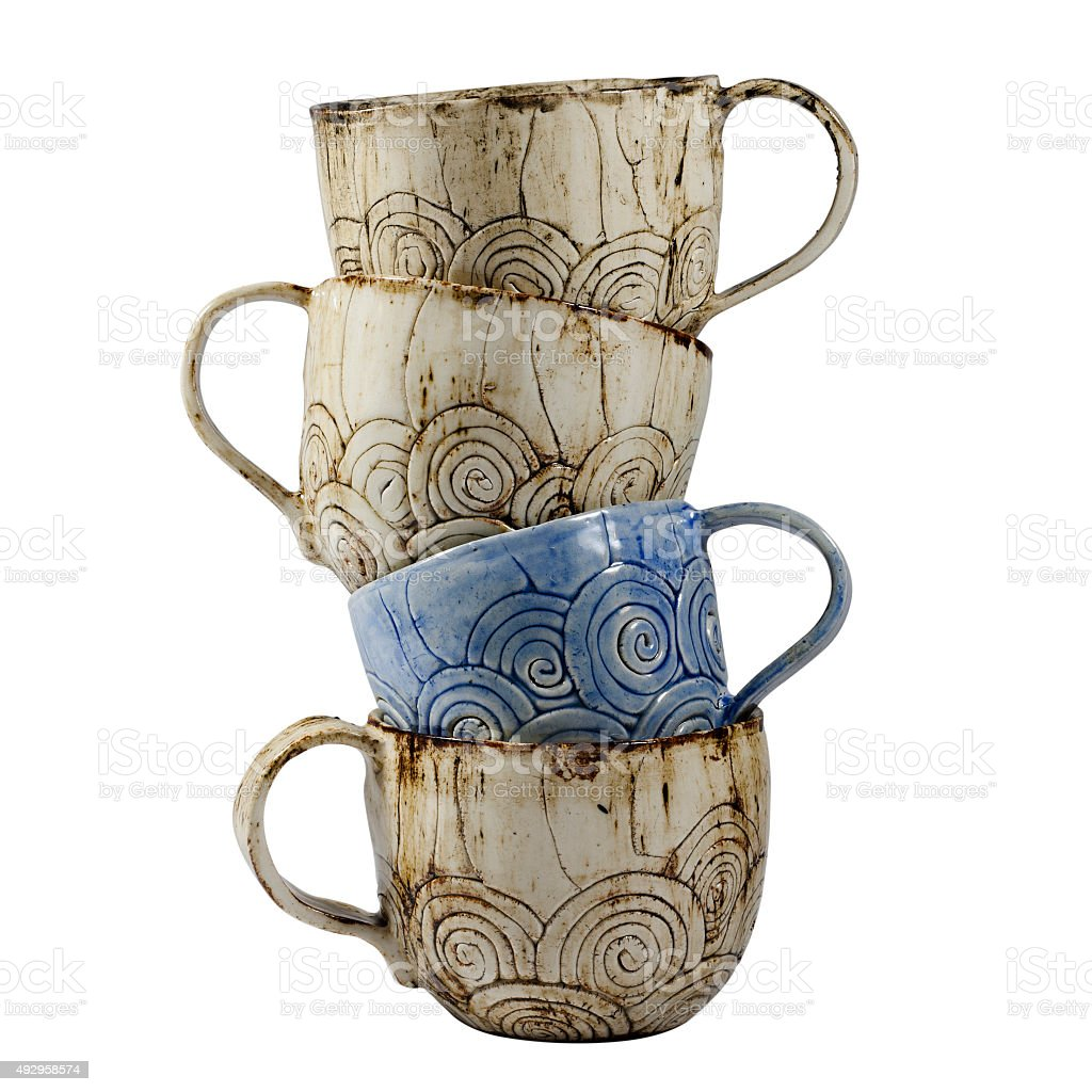 Stack of Hand Made Tea Cups stock photo