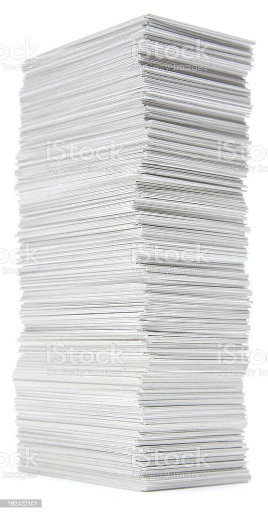 Stack of hand trimmed cards on white royalty-free stock photo