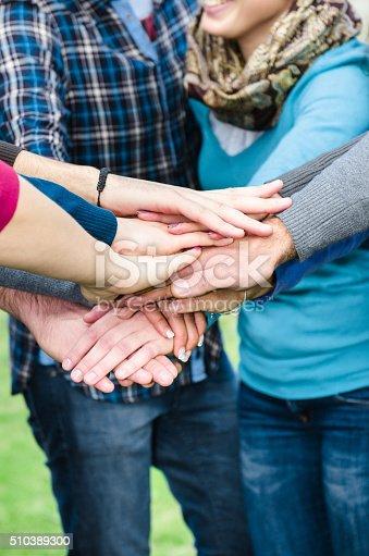 istock Stack of hands of volunteer 510389300