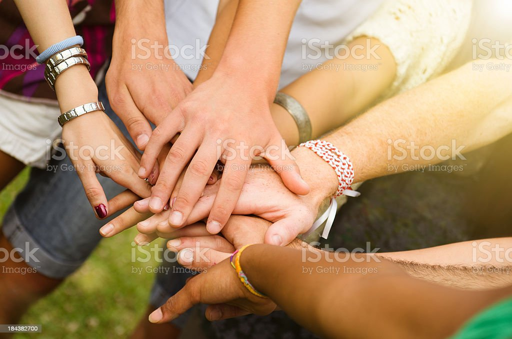 Stack of hands - real people agreement stock photo