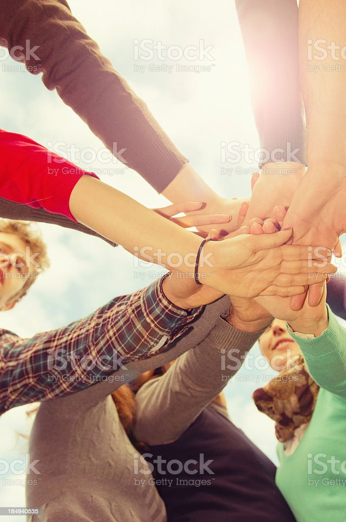 Stack of hands - real people agreement royalty-free stock photo