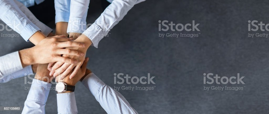 Stack of hands. Unity and teamwork concept. foto stock royalty-free