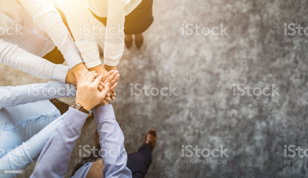 Stack of hands. Unity and teamwork concept. royalty-free stock photo