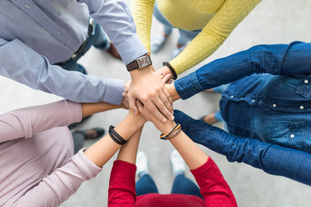 Stack of hands. Unity and teamwork concept. – zdjęcie