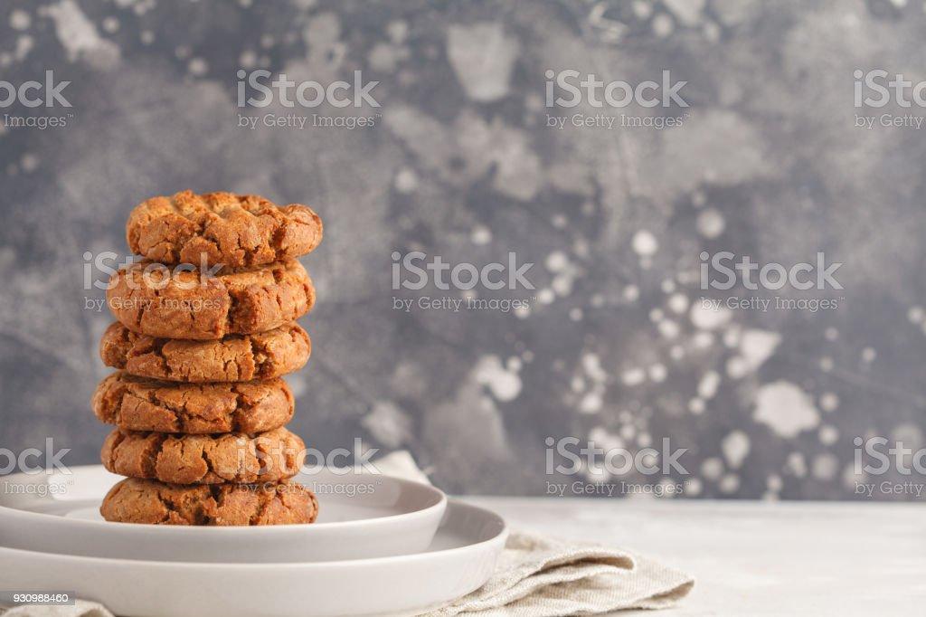 Stack of healthy aquafaba vegan cookies, copy space. Vegetarian food concept. stock photo