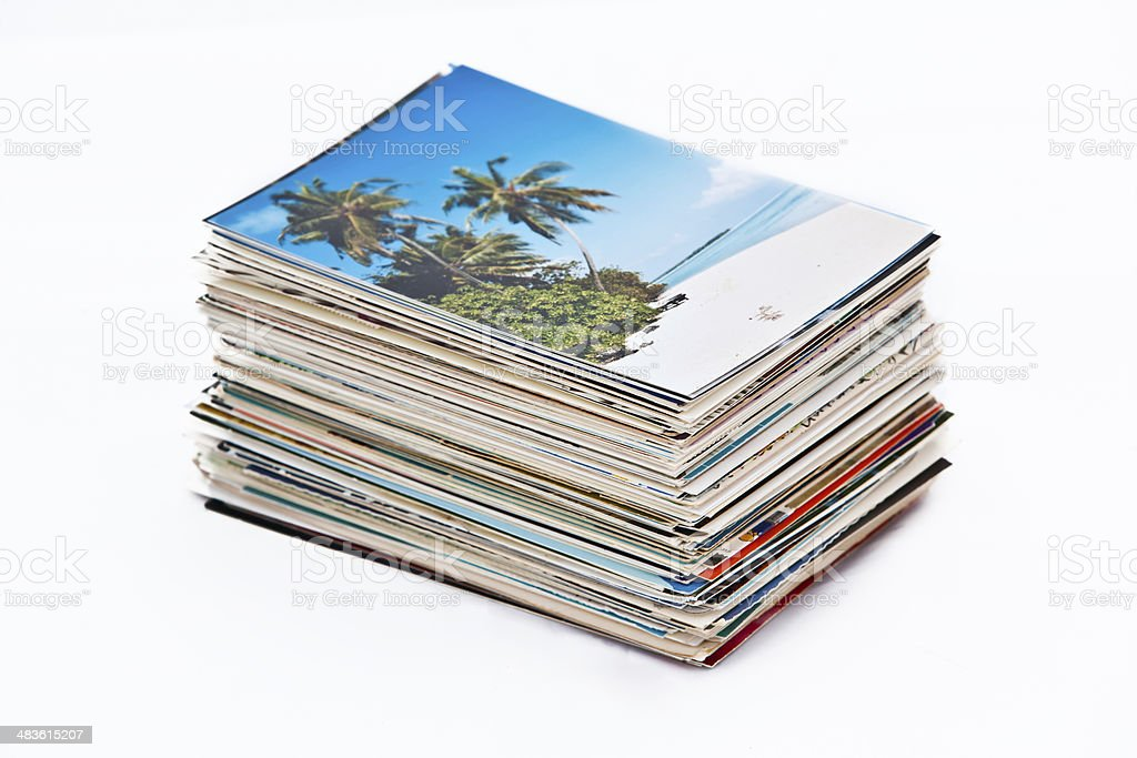 Stack of holiday-postcards stock photo