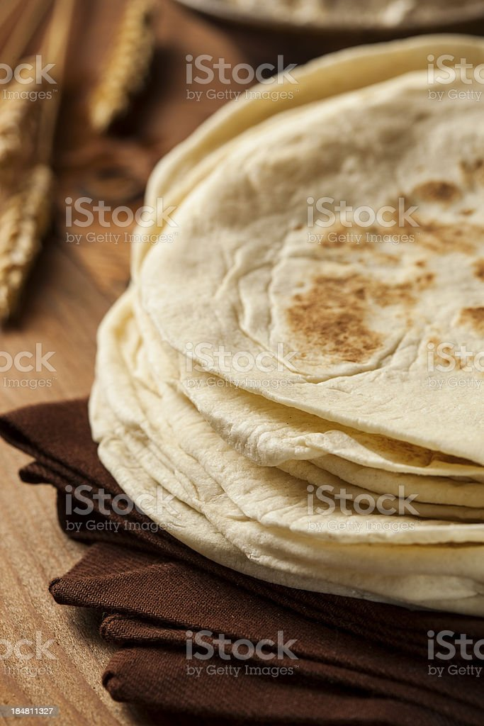 Stack of Homemade Flour Tortillas royalty-free stock photo