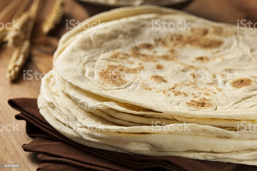 Stack of Homemade Flour Tortillas stock photo
