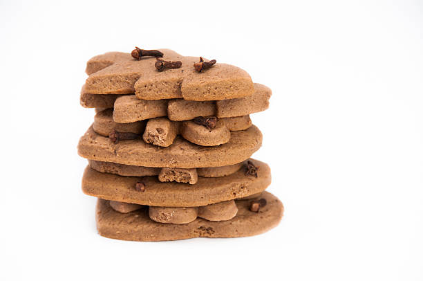 Stack of homemade gingerbread on isolating background stock photo