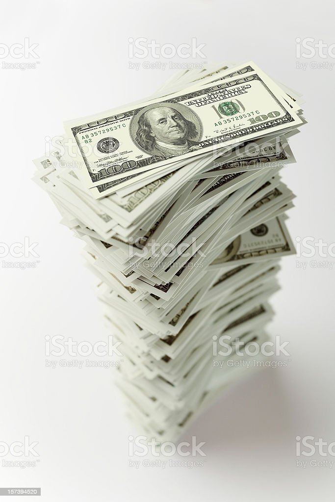 Stack of hundred dollar bills royalty-free stock photo