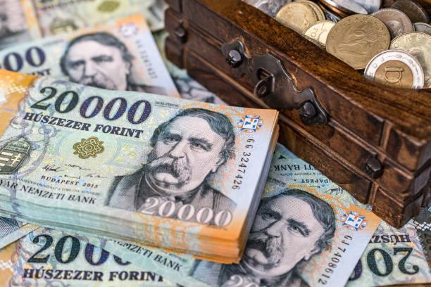 一疊匈牙利20000福林紙幣與一個 opne 古董木箱裝滿硬幣 - 匈牙利文化 個照片及圖片檔