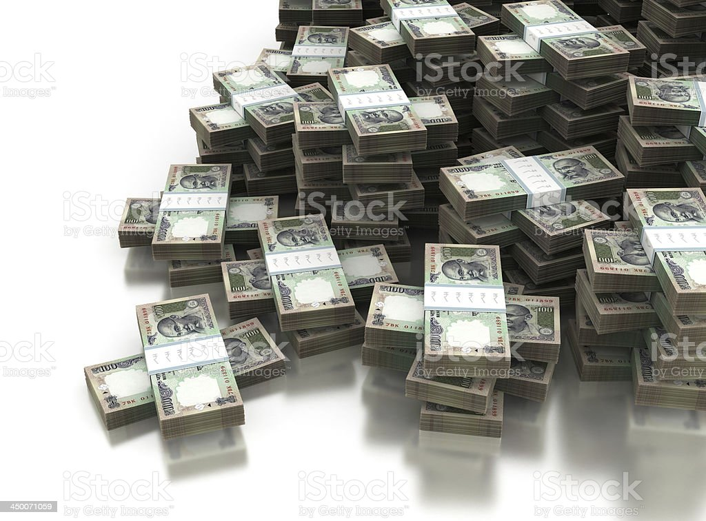 Stack of Indian Rupee stock photo