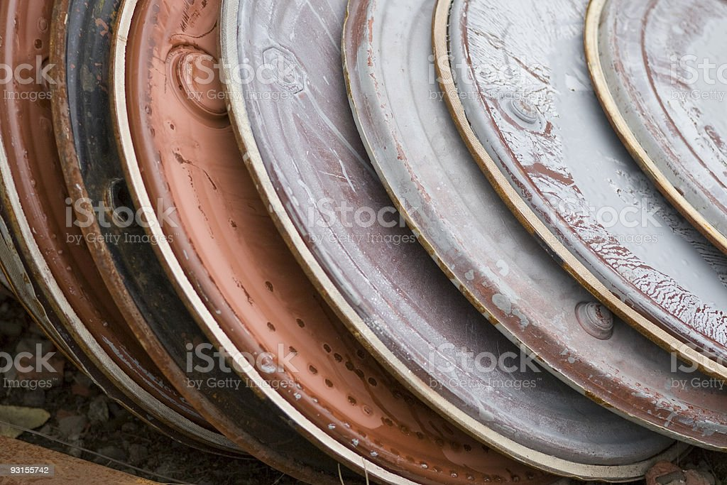 Stack of Industrial Lids royalty-free stock photo