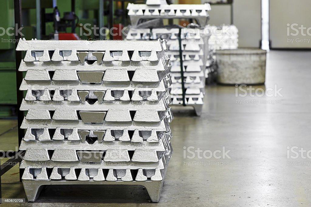 Stack of ingot in factory stock photo