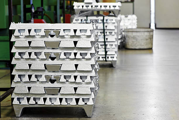 Stack of ingot in factory stock photo